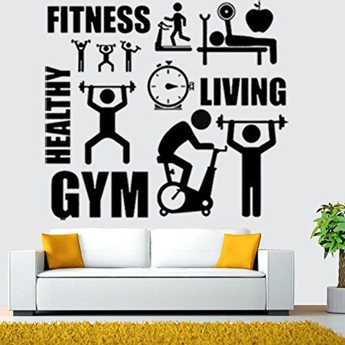 ufkleber Barbell Fitness Aufkleber Body-Building Zimmer Aufkleber Home Decor Gym Übung Sport Living Vinyl Wall Sticker ()