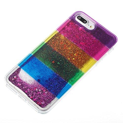 "iPhone 7 PLUS 5.5"" Case, iPhone 7 Plus Gliter Case, Edaroo [Rainbow Liquid Glitter] [Colorful Quicksand] Cute Creative Flowing Liquid Floating Glitter Bling Rubber Case for Apple iPhone 7 Plus (5.5 in Stripe #4"