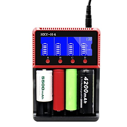 Svpro Universal Cargador de Pilas 4 Slots LCD Para Baterías Recargables 3.2v / 3.7v Li-ion / LiFePO4 AA AAA Cargador Rápido Inteligente(H4)