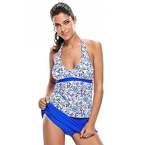 Erica Femmes Beach Halter Bikinis Deux Pieces Set Maillot de bain Floral Impression Sans fil Padded Bra Sport , blue , l