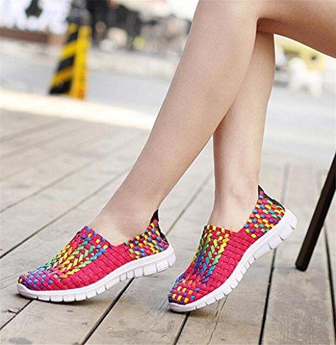 LDMB Frauen Handgewebte Slip-On Breathable Tourismus Casual Schuhe Frühling und Sommer Schuhe Damen Single Schuhe rose red