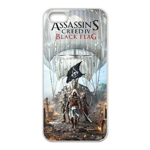 Assassins Creed Black Flag iPhone 5 5S Fall hülle Abdeckung Weiß Handy Tasche EBDOBCKCO16238