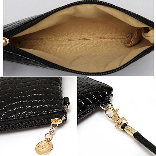 Bluelans® Damen Schultertasche PU Leder Handtasche Umhängetasche Crossbody Tasche Kleine Größe - Rot schwarz