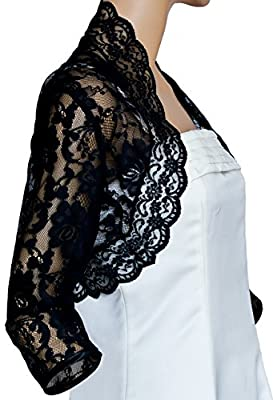 Grace and Flair Black Lace 3/4 Sleeve Bolero Shrug Sizes 8-24