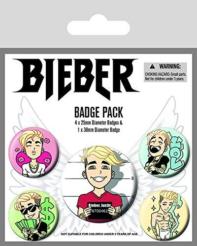 Justin Bieber Abzeichen Plastik Mehrfarbig 10 x 12.5 cm