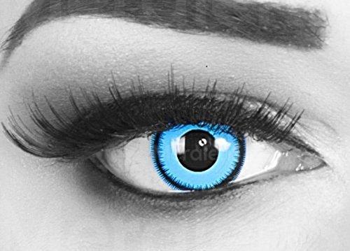 Funnylens 1 Paar farbige Crazy Fun blue lunatic Jahres Kontaktlinsen. perfekt zu Halloween, Karneval, Fasching oder Fasnacht mit gratis Kontaktlinsenbehälter ohne Stärke! (Blue Eye Kontakte Farbige)