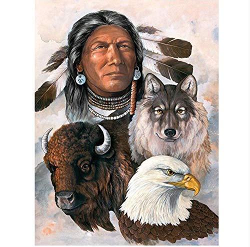 YueQiSong Diamant Malerei Strass Mosaik Malerei Indianer Wolf Adler Handarbeit Diamant Stickerei Bilder Home Haushalt Decor 30X40 cm, Quadratischer Bohrer (Bilder Adler)