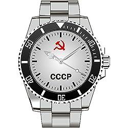 CCCP Russland Wappen UDSSR Russia Adler Sichel Hammer Motiv Uhr - Armbanduhr 1152