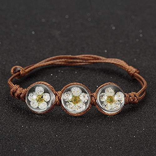 MNJLB Frauen Armband Böhmischen Vintage Charme Kristallglas Ball Armband Frauen Mehrschichtiges Leder Weiß Armband Für -