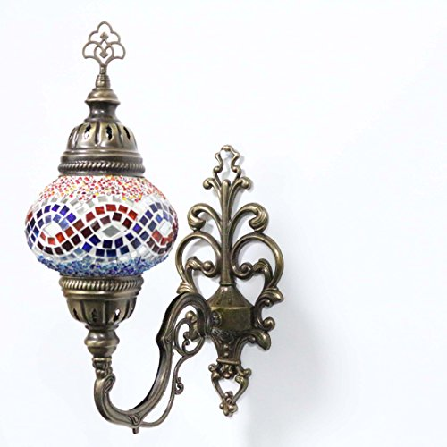 Turkish Mosaic Sconce Wall Lamp, Stunning Moroccan Style Handmade with large size (14cm) Glass Globe by TK Bazaar (SARDONYX)