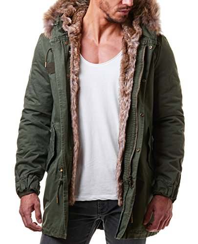 burocs herren parka winter mantel lang jacke fell kapuze khaki gr n. Black Bedroom Furniture Sets. Home Design Ideas