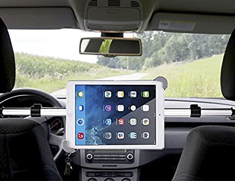 Koiiko® Kit Support de voiture universel portable et rotatif à 360° double fixation sur appuie-tête réglable pour tablettes de 17,8à 27,9cm