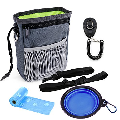 YAMI® Dog Treat Pouch Puppy Trainingsset mit verstellbarem Tragegurt, einem Trainings-Clicker und einer zusammenklappbaren Futterwasserschüssel und 2 Roll-Poop-Taschen - Puppy Training Kit