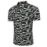 Herren Hemden URSING Männer Camouflage Slim Fit Freizeit Hemd Kurzarm Shirts Lässiges Hemd Casual Bluse Sommerhemd Herrenhemden Super Komfort Kurzarmhemd Streetwear Blusenshirt (3XL, Grau)