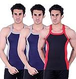 Zimfit Gym Vest - Pack of 3 (Black_Blue_...