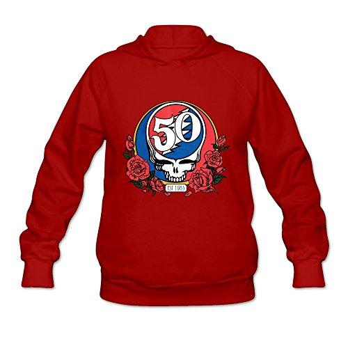 KEIKO Damen Kapuzenpullover Grateful Dead Skull & Roses 50th, Damen, rot, XXL 50 Youth Hoodie