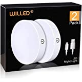 Dimmable Touch Light   WILLED Buit-in 1000mAh Large Battery Rechargeable LED Tap Lights   Magnet Stick on Closet Light   Port