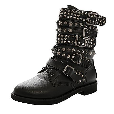 MONICOCO Damen Punk Biker Lace Up Gefutterte Stiefelletten Schnalle Low Boots Schnürschuhe mit Nieten für Party Club Schwarz 40.5 EU