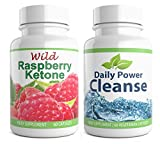 Wild Raspberry Ketone + Daily Power Cleanse Duo, 120 Kapseln, High Strength Detox für Gewichtsverlust, hochwertiges Supplement (60x Raspberry Ketone + 60x Cleanse Detox)