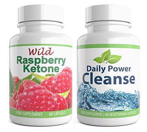 Wild Raspberry Ketone + Daily Power Cleanse Duo, 120 Kapseln, High Strength Detox für Gewichtsverlust, hochwertiges Supplement (60x Raspberry Ketone + 60x Cleanse Detox)