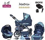 Chilly Kids Matrix II Kinderwagen Safety-Sommer-Set (Sonnenschirm, Autositz & ISOFIX Basis, Regenschutz, Moskitonetz, Schwenkräder) 37 Blau & Picasso