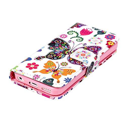 MOONCASE iPhone 5C Coque, [Don't Touch My Phone] Bookstyle Étui à rabat Housse en Cuir Portefeuille de Protection TPU Case avec Béquille pour Apple iPhone 5C Papillon