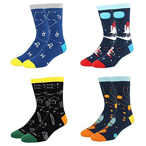 Happypop Lustige Herren-Socken, witzig, aus Baumwolle, mit Raketenwal-Motiv, Herren, A622SC-4 Pack-Space, 4 Pairs-space Crew Socks, M