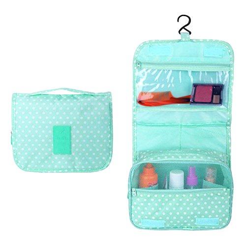 Eizur Imperméable d'pliable Trousse de Toilette Voyage Maquillage Sac Portable Multifonctionnel Rangement Bag Cosmétique avec Crochet Pendaison Organisateur Sacs-Vert