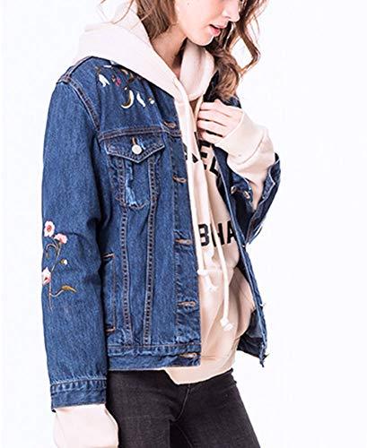 Fray Denim Jeans (Damen Jeansjacke_Mit Blumenstickerei Lose Fray Jeans Mantel Kurz FüR MäDchen)