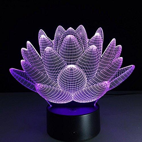 GZXCPC Lotus Creative 3D Acryl Board Stereo Nachttisch Lampe einzigartige Schlafzimmer dekorative Licht LED Nachtsicht Lampe (Acryl-nachttisch)