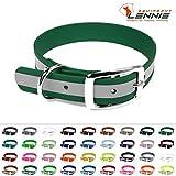 LENNIE BioThane Halsband, Dornschnalle, 25 mm breit, Größe 44-52 cm, Smaragdgrün-Reflex, Aufdruck möglich