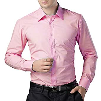 Being Fab Men S Solid 100 Cotton Regular Fit Casual Baby Pink Shirt