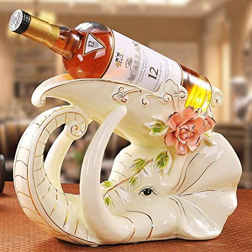 DEED Estante del Vino-Estanterías de Vino Creativas Europeas Cerámica Elefantes Forma Personalidad...