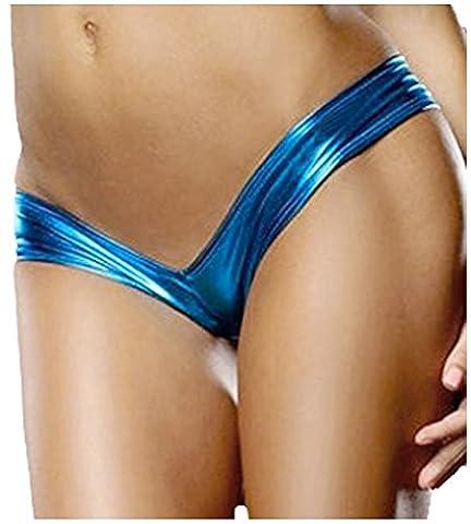 Creamlin Low-Taille Metallic Micro Shorts Schlüpfer String (Blau) (Metallic One Pocket)