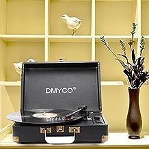 Plattenspieler | Schallplattenspieler | Riemenantrieb | Stereo-Lautsprecher | USB-Anschluss zum Digitalisieren | Retro-Design | Tragegriff | Turntable mit eingebauten Stereo Lautsprechern, schwarz