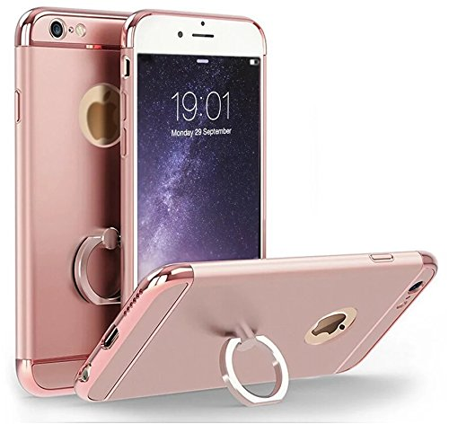 6S Case, Feikai 3 in 1 Ultra Thin and Slim Coated Premium Non Slip Matte Surface Electroplate Frame Plating Metal Texture Skin Hard Case Protector Cover With Ring Holder Stand para iPhone 6 6S Gold Ring 3in1 6S Rose Gold