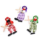 1 Pcs Pull String Puppet Wooden Marionette Joint Activity Doll Clown Kids Toy,Color Random by Sdetter