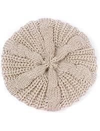 Damen Fashion Baskenmütze, TheBigThumb Dark Pink Geflochtene Baggy Gestrickte Warme Winter Beanie Hut Crochet Ski Cap für Erwachsene Mädchen Damen