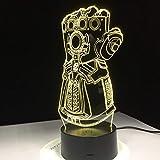 FaceToWind Thanos-Unendlichkeits-Handschuh-Rächer-Unendlichkeits-Kriegs-Handschuhe 3D Nachtlichter LED, die Licht-kreatives Schreibtischlampe Tropfen-Schiff der Neuheit-3D ändert