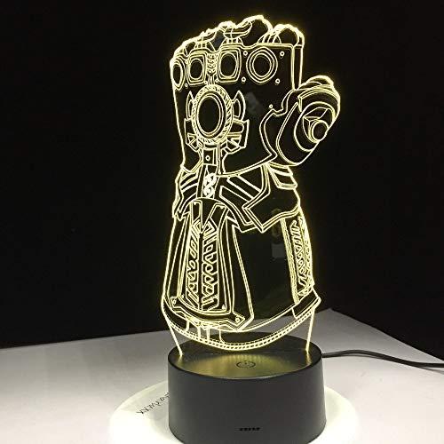 FaceToWind Thanos Infinity Gauntlet Avengers Infinity War Guantes 3D Luces de la Noche LED Cambio 3D Novedad Luz Lámpara de Escritorio Creativo Drop Ship