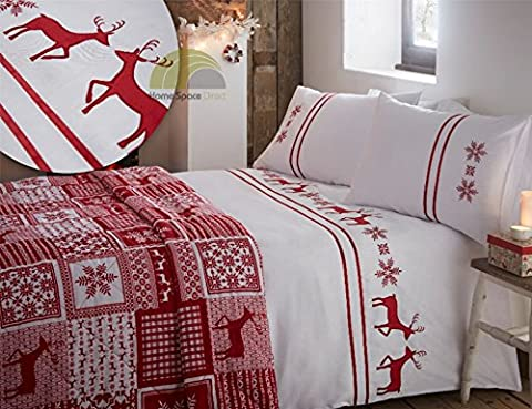 Christmas Embroidered Reindeer King Quilt Duvet Cover & 2 Pillowcase Bedding Bed Set Xmas Red White