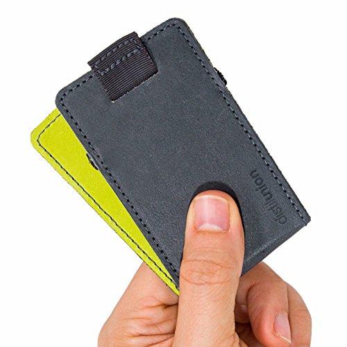 Distil Union Wally Micro - Premium-Leder-Minimalist-Slim-Brieftasche mit Kartenfach -  Grau -  Einheitsgröße -