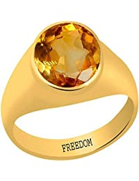 FREEDOM Natural Certified Citrine (Sunehla) Panchdhatu Gold Plated Ring 3.25 Ratti or 2.96 Carat for Gents-AZN10325
