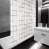 casa pura Design Duschrollo Retro Muster | Viele Größen | Schnelltrocknend | Deckenbefestigung mit Halbkassette | Halbtransparent, Retro Muster | 160x240cm (BxL)