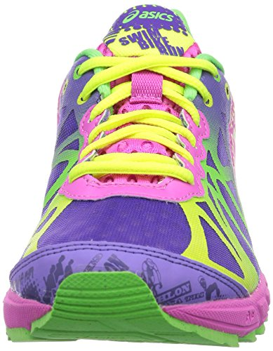 Asics Gel-Noosa Tri 9 - Zapatos para correr para mujer, 0104-White/Flash Yellow/Plum, 37.0EU/ 23.0cm Viola(Violett (3670-Purple/Flash Green/Pink))