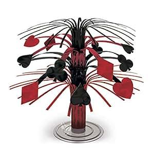 NET TOYS Decorazione per Tavolo Motivo Carte da Gioco 19 cm Ornamento da tavola con Frange Tema Las Vegas Cascata - Addobbo per Tavolo Stile Gioco D'Azzardo Centrotavola per Feste Stile Casinò