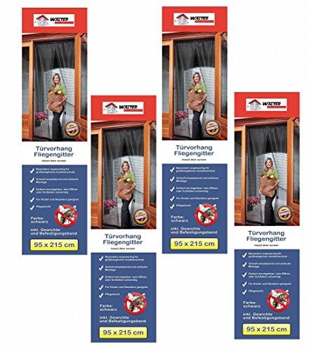 4x CBK-MS Tür Fliegenvorhang 95 x 215 cm Fliegengitter Insektenschutz (Schiebetüren Terrasse Vorhänge)