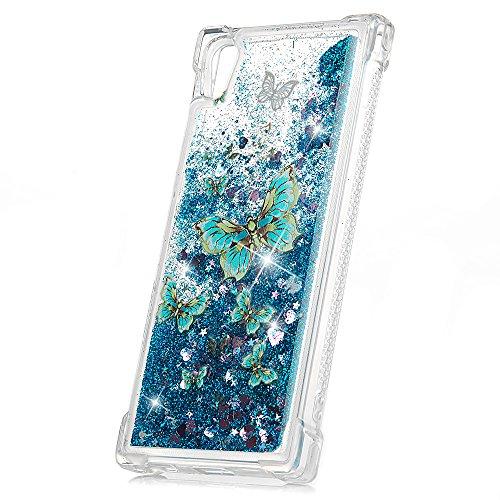 Sony Xperia XA1 Hülle Case Schutzhülle Handyschale Transparent Hülle TPU Silikon Handyhülle 3D Bling Glitzer Dynamisch Treibsand Liquid Fließen Flüssig Schale Tasche Etui Blauer Schmetterling
