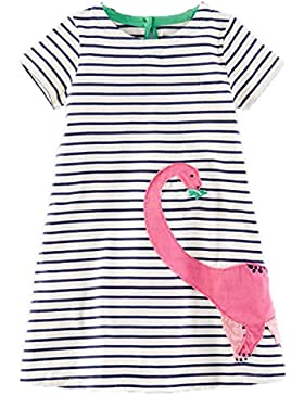 Kaily Mädchen Baumwolle Cartoon Kurzarm T-shirt Kleid