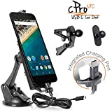iBOLT cPro NFC Combo Car Dock / Mount / Holder / with USB Type C to USB Type C Charging Cable for Nexus 5X, Nexus 6P , and LG G5. Comes with 3 mounting options (suction cup mount, vent mount , and adhesive miniBall mount), and an integrated 2 meter USB Type C to USB Type C Charging Cable. Works with most cases